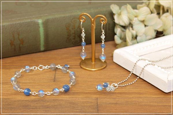 ブルーラブラドライト+カイヤナイトsilver925ブレスレット