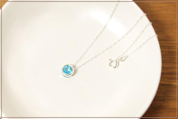 ブルーアパタイトsilver925ベゼルネックレス