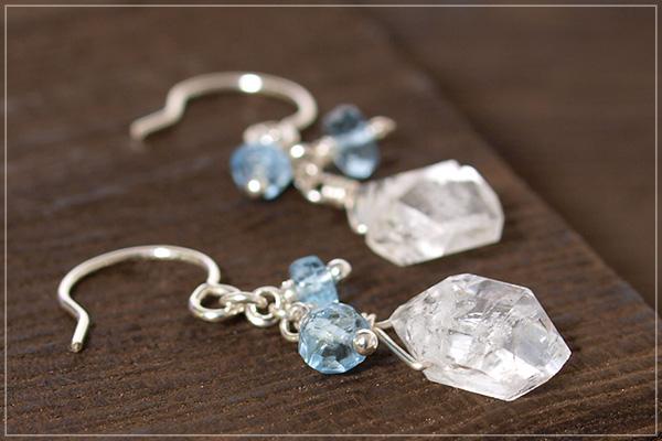 ハーキマーダイヤモンド+極上アクアマリンsilver925ピアス・イヤリング