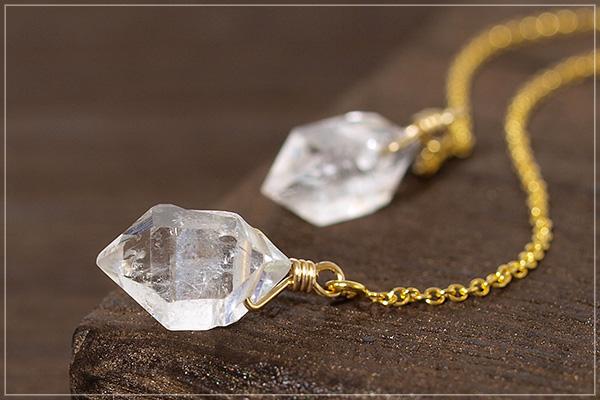 ハーキマーダイヤモンドK14GFアメリカンチェーンピアス