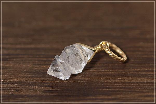 多結晶ハーキマーダイヤモンドK14GFペンダントトップ