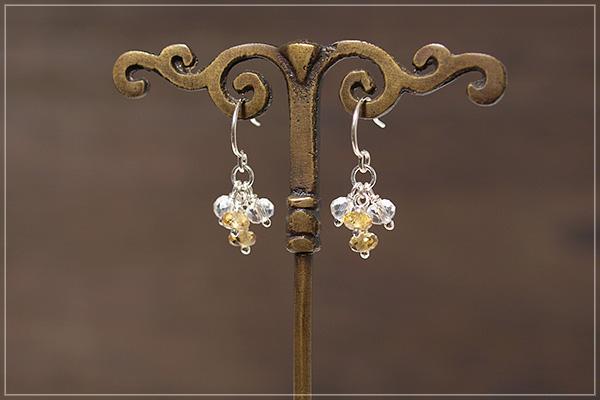シトリン+水晶silver925ピアス・イヤリング