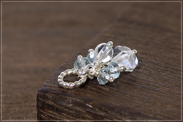 ハーキマーダイヤモンド+ヒマラヤ産水晶+アクアマリンsilver925ペンダントトップ