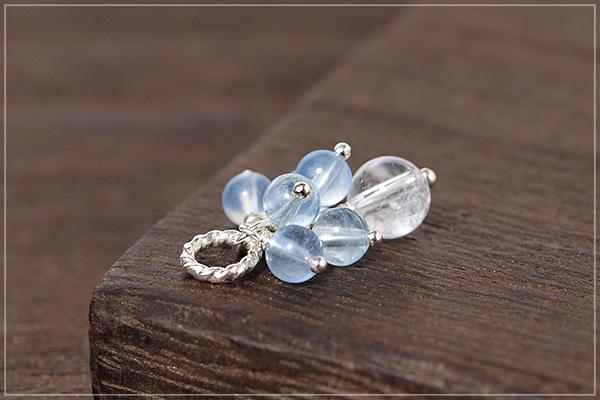 アクアマリン+ヒマラヤ産水晶silver925ペンダントトップ