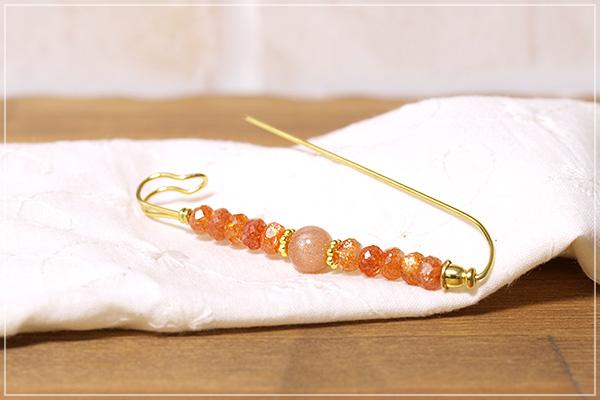 サンストーン+オレンジムーンストーンストールピン