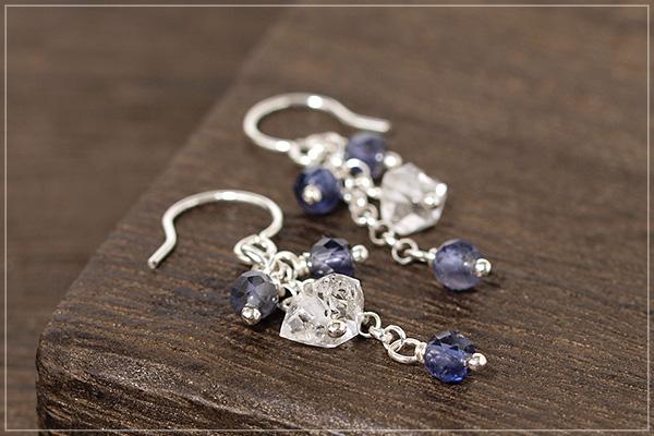 ハーキマーダイヤモンド+アイオライトsilver925チェーンピアス・イヤリング