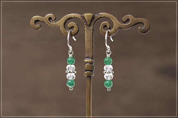 グリーンアベンチュリン+水晶silver925ピアス・イヤリング
