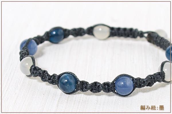 ムーンストーン+ブルーアパタイト+カイヤナイト6ミリ玉ナチュラルマクラメブレスレット