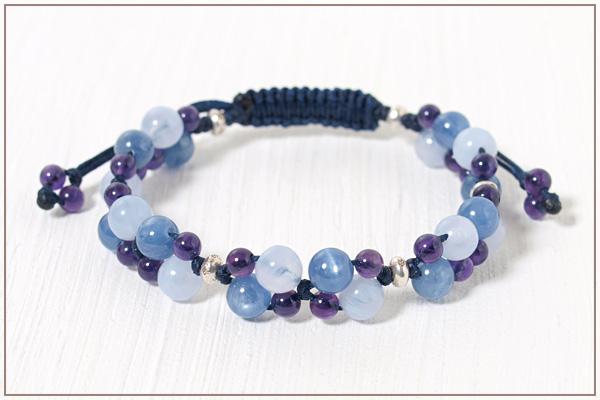 ブルーレース+カイヤナイト+アメジスト花*花マクラメブレスレット