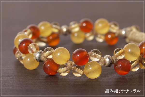 オレンジカルサイト+カーネリアン+シトリン花*花マクラメブレスレット