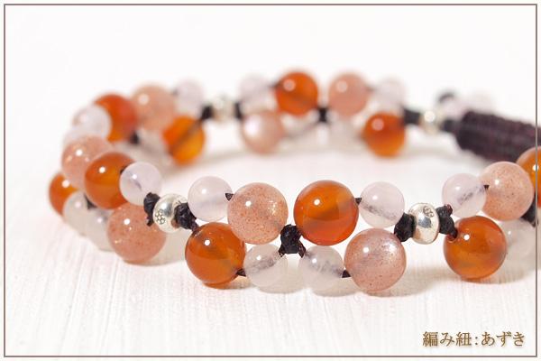 オレンジムーンストーン+カーネリアン+ローズクォーツ花*花マクラメブレスレット
