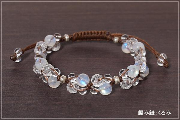 レインボームーンストーン+ロータス水晶+水晶花*花マクラメブレスレット