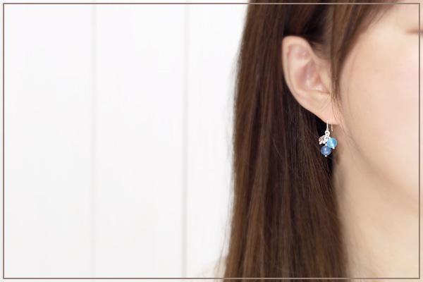 カイヤナイト+シーブルーカルセドニー+水晶花*花ピアス・イヤリング