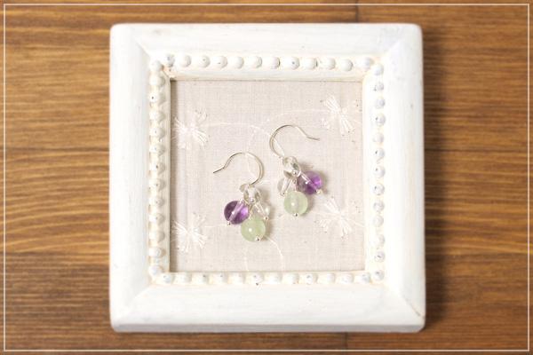プレナイト+パープルフローライト+水晶花*花ピアス・イヤリング