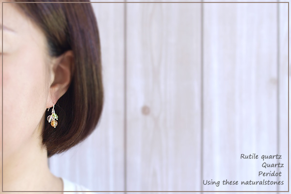 ルチルクォーツ+水晶+ペリドット花*花ピアス・イヤリング