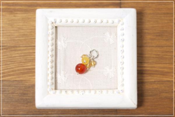 カーネリアン+オレンジカルサイト+シトリン花*花ペンダントトップ