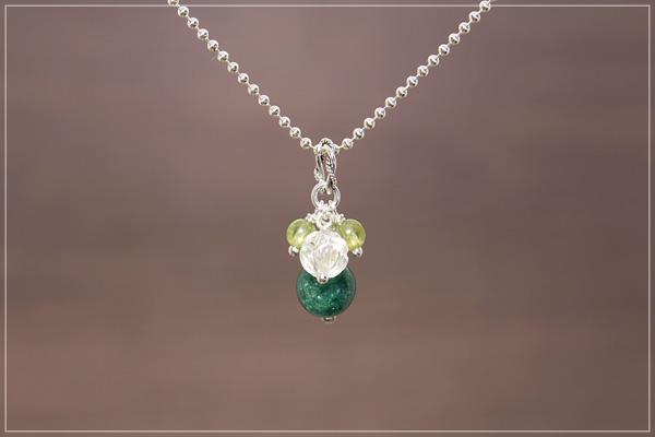 グリーンアベンチュリン+ロータス水晶+ペリドット花*花ペンダントトップ