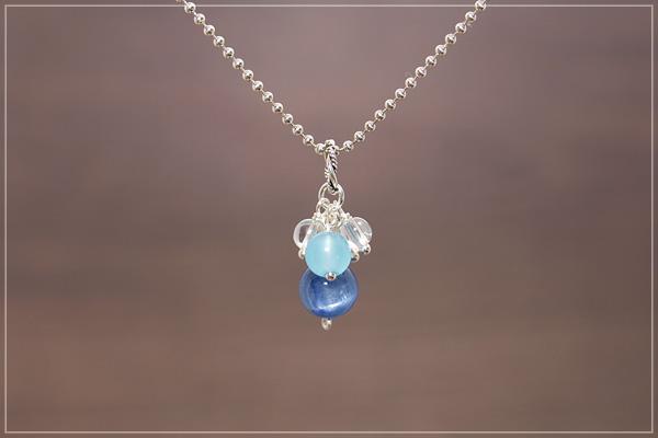 カイヤナイト+シーブルーカルセドニー+水晶花*花ペンダントトップ