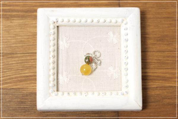 オレンジカルサイト+ユナカイト+水晶花*花ペンダントトップ