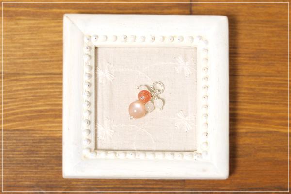 オレンジムーンストーン+サンストーン+ムーンストーン花*花ペンダントトップ