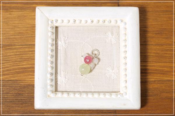 プレナイト+ペルー産ロードクロサイト+ムーンストーン花*花ペンダントトップ