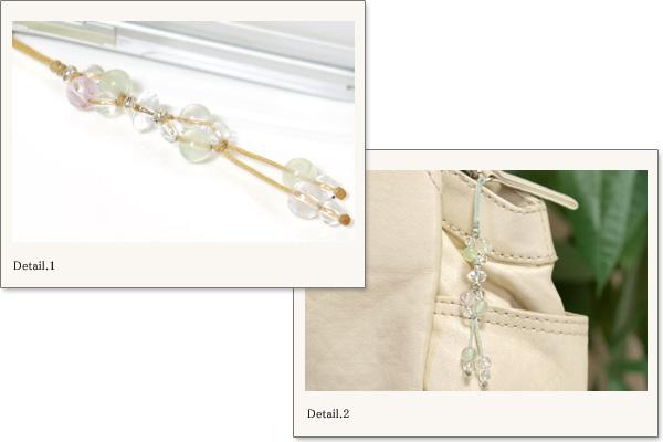 クンツァイト+プレナイト+水晶花*花マクラメ携帯ストラップ
