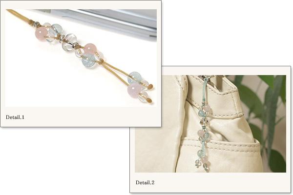 モルガナイト+アクアマリン+水晶花*花マクラメ携帯ストラップ