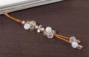 レインボームーンストーン+ロータス水晶+水晶花*花マクラメ携帯ストラップ
